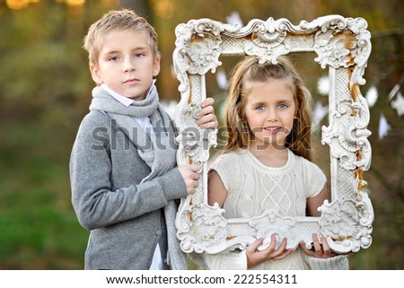portrait of little boys and girls in a Christmas style - stock photo