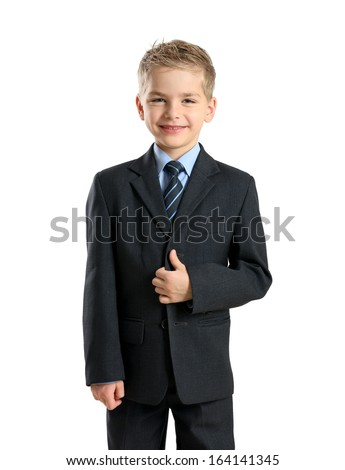 Portrait of little businessman isolated on white background - stock photo