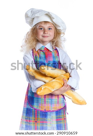 Portrait of Little Cook With Bread. Isolated on white background. - stock photo