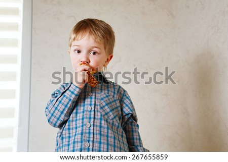 Portrait of little cute boy eating cookies. The concept of simple happiness. - stock photo