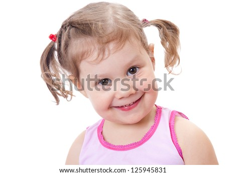 Portrait of little cute girl of white background