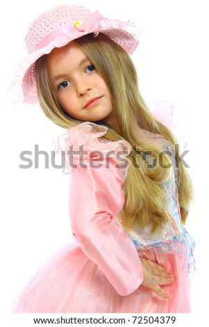 portrait of little cute girls isolated on white - stock photo
