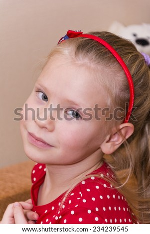 portrait of little girl - stock photo