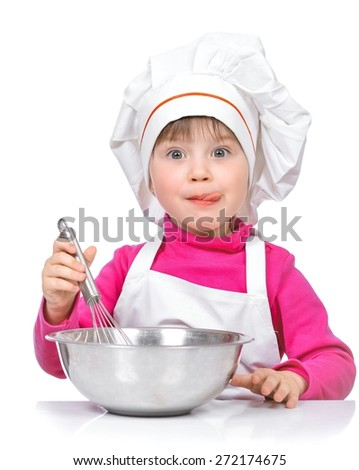 Portrait of little girl chef with kitchen utensils, isolated on a white background. - stock photo