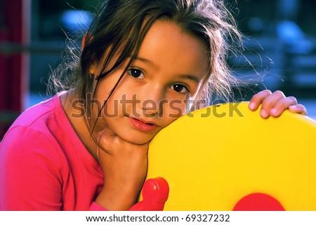 Portrait of little girl - golden light - stock photo