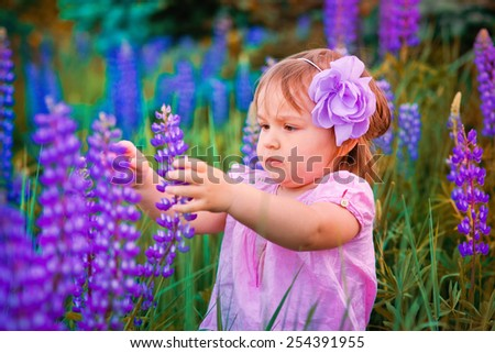 Portrait of little girl in a field of flowers at summer evening - stock photo