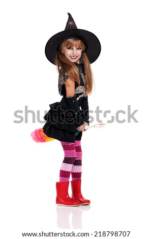 Portrait of little girl in halloween costume and black hat with soft colorful duster isolated on  sc 1 st  Shutterstock & Portrait Little Girl Halloween Costume Black Stock Photo (Royalty ...