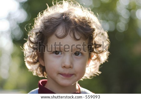 portrait of little girl in locking light