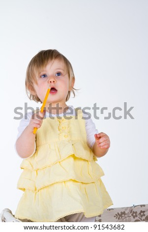 portrait of little girl on white background