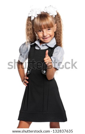 Portrait of little girl showing thumbs up sign isolated on white background