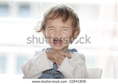 portrait of little girl  sitting and screaming - stock photo