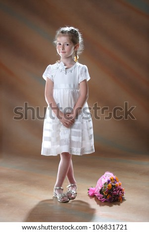 portrait of little girl with a beautiful smile - stock photo