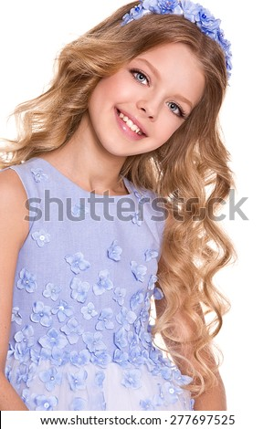 Portrait of little girl with flower wreath and curly hair - stock photo