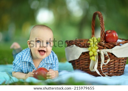 Portrait of little happy boy at the picnic - stock photo