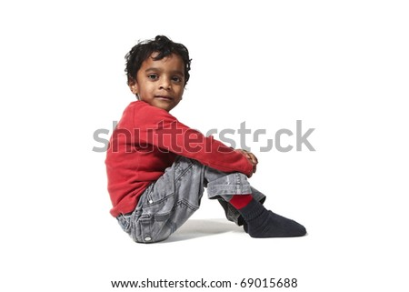 portrait of little Indian boy on a white background - stock photo