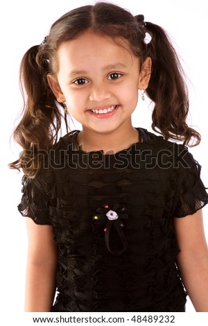 Portrait of little Indian girl - stock photo
