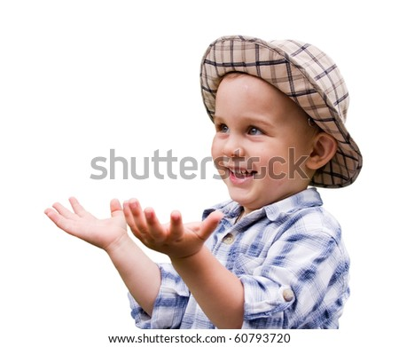 Portrait of little kid isolated on white - stock photo
