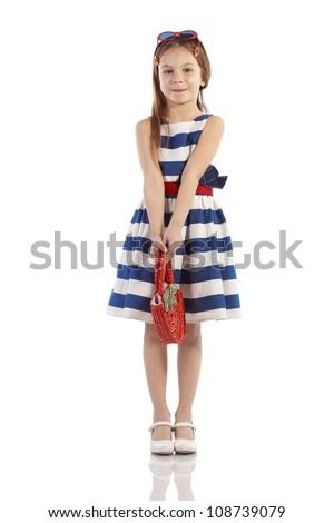 Portrait of little pin-up fashion girl sea theme - stock photo
