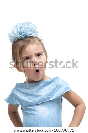 Portrait of little playful girl, isolated on a white background