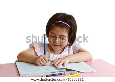 Portrait of little schoolgirl smiling from behind books on a white background - stock photo
