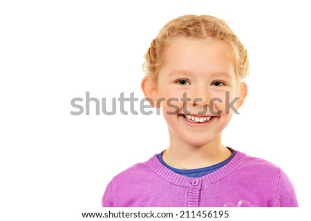 Portrait of little smiling girl. Isolated white backround. - stock photo