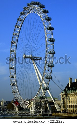 Portrait of London Eye on a bright sunny English afternoon - stock photo