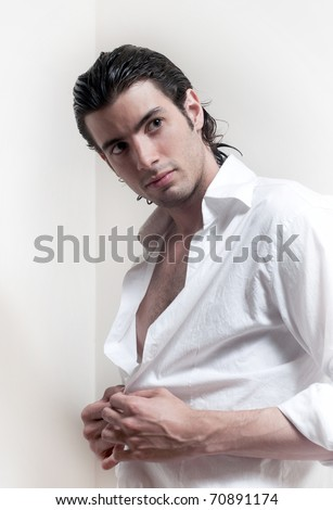 Portrait of long-haired handsome man - stock photo