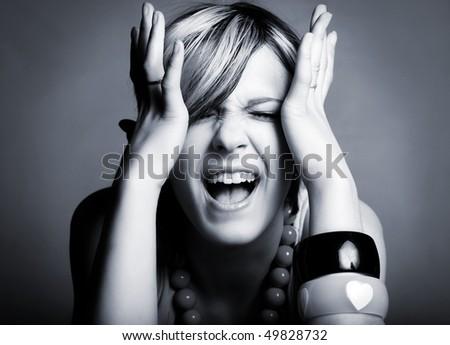 Portrait of loud girl - stock photo