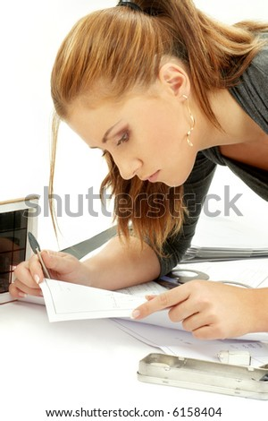 portrait of lovely architect girl at work - stock photo