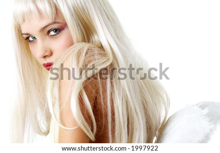 portrait of lovely blond with angel wings - stock photo