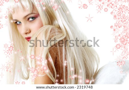 portrait of lovely blond with angel wings surrounded by rendered snowflakes - stock photo