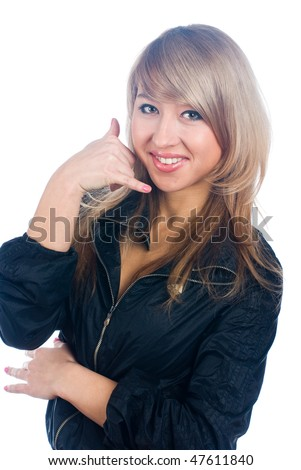 Portrait of lovely blonde making a call me gesture - stock photo