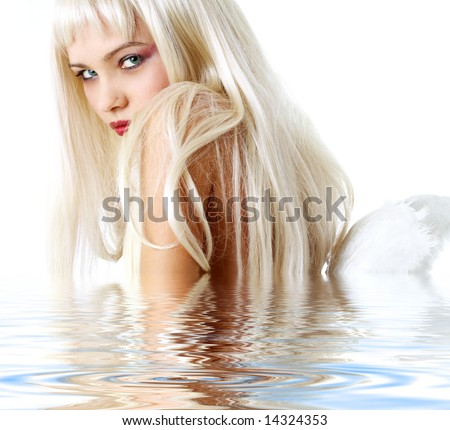 portrait of lovely blonde with angel wings in water - stock photo