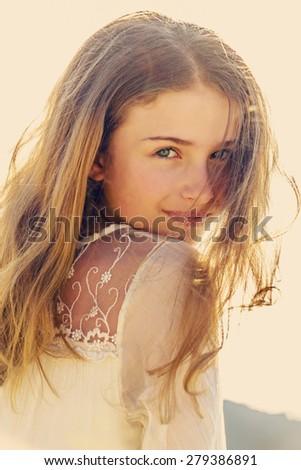 Portrait of lovely fashion girl - stock photo