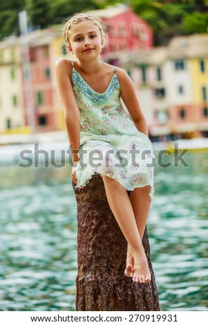 Portrait of lovely fashion girl in Portofino, Italy - stock photo