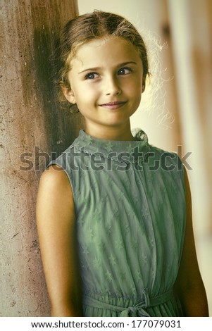 Portrait of lovely girl in old town - Italy, Venice - stock photo
