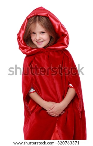 Portrait of lovely happy young girl dressed as Little Red Riding Hood isolated on a white on Holiday - stock photo