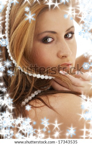 portrait of lovely lady with white pearl beads - stock photo