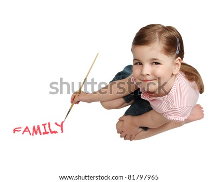 Portrait of lovely smiling drawing girl on white background - stock photo