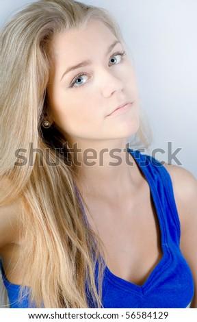 portrait of lovely teenage girl - stock photo