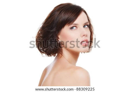 portrait of lovely young woman over white background
