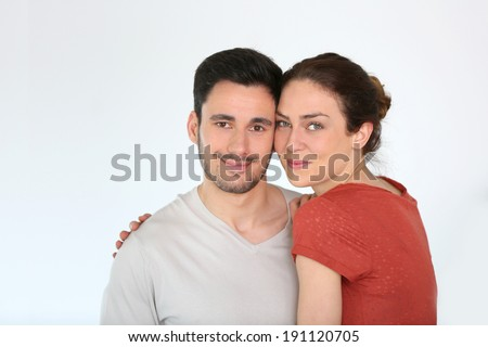 Portrait of loving couple at home, isolated - stock photo