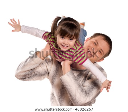 Portrait of loving father and his child cuddling on white background. Beautiful caucasian models. - stock photo