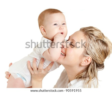 Portrait of loving mother and her child on white background - stock photo
