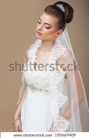 Portrait of Luxurious Pensive Lady with Diadem - stock photo