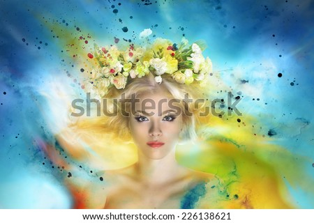 portrait of magnificent flying fairy with blond hair in flower crown - stock photo