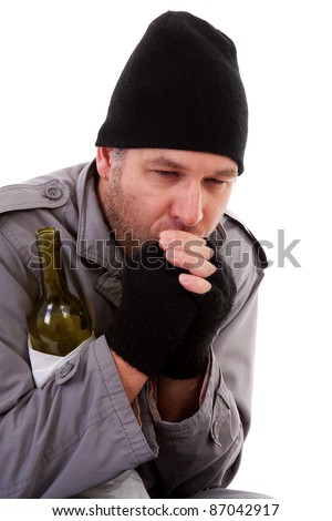 portrait of male homeless tramp over white background