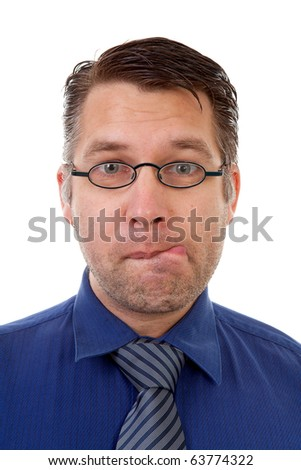 portrait of male nerdy geek making funny face over white background