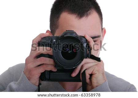 Portrait of male photographer with cameras isolated on white background