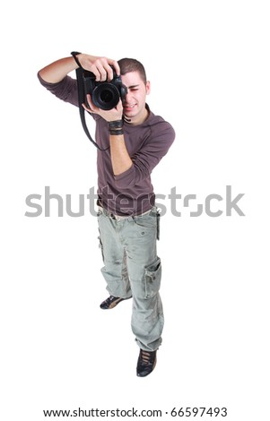 Portrait of male photographer with cameras isolated on white background - stock photo